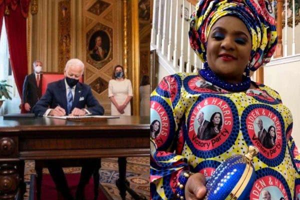 Nigerian mom stuns in Biden Kamala inaguaration Aso Ebi 600x400 1